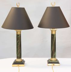 Pair Of French Empire Faux Marble Column Lamps | French empire ...