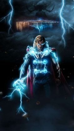 god of thunder (thor) wallpaper for android and ios devices. visit for tech related stuff. Marvel Heroes, Marvel Avengers, Iron Man Art, Marvel Background, Chris Hemsworth Thor, Superhero Poster, Avengers Wallpaper, Marvel Cinematic Universe, Swagg