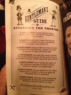 This was in the playbill for A Gentleman's Guide to Love and Murder on Broadway. || I love this.