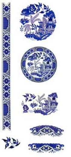 Blue Willow Oriental Flower Scene Border Select A Size Ceramic Waterslide Decals 2
