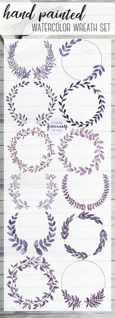 12 x 12 inches 3600 x 3600 pixels Watercolor wreath clip art set 12 purple watercolor wreath design elements. 12 x 12 inches 3600 x 3600 pixels Art Journal Pages, Art Journal Challenge, Art Journal Prompts, Bullet Journal Art, Art Journal Techniques, Bullet Journal Ideas Pages, Bullet Journal Inspiration, Watercolor Flower, Wreath Watercolor