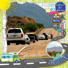 GET OUTTA TOWN - Template: Circles Of Love #7 (modified) by Heartstrings Scrap Art  https://www.digitalscrapbookingstudio.com/digital-art/templates/circles-of-love-7/  Kit: Summer Travelers, July 2017 Collection by Michelle Coleman