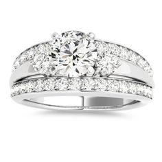 Wide-Band Engagement Ring Diamond Side Stones 14K White Gold 0.75ct - Allurez.com