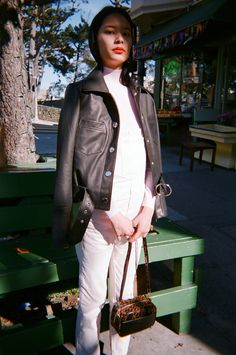 By VEDA Made in NYCDenim jacket-inspired leather jacket with belt.Center  front closure with oversized circular snaps and hardware.Western stitch  detail in back.Model is 5'8 wearing size XS Worn with ROLLA'S | Original  Straight - Black,  The Rose T-Shirt - PinkQuestions about this product?  Email hello@lisasaysgah.com, call us 415.757.0995 or DM us on Instagram.  We're here for you!