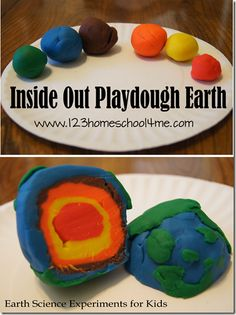 Inside out Playdough Earth - Part of hands on homeschool Earth Science unit. Also love the taking a core sample idea! 粘土で地球を作ろう!地球の中身は、どうなってるのかな?!