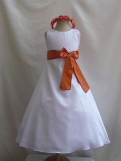 Flower Girl Dress WHITE/Orange Burnt CO5 Wedding Children Easter Bridesmaid Communion Toddler Orange Burnt Guava Green Kelly