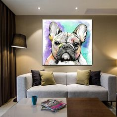 French Bulldog Abstract Oil Painting Print on Canvas – Dogsbuzz