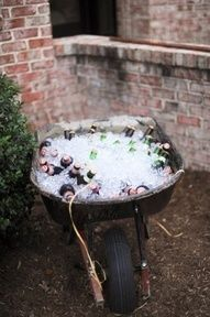 Such a cute Idea for the drinks and part of the decor. But use the metal washtub instead.