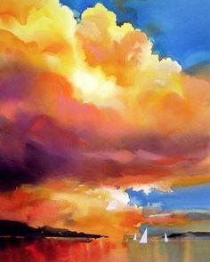 'Yellow sky' beautiful painting by watercolor artist Joe Cibere US. His painting…