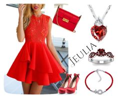 """""""Love Jeulia Jewelry Red"""" by nejrasehicc ❤ liked on Polyvore featuring Lanvin, women's clothing, women's fashion, women, female, woman, misses, juniors, jewelry and jeulia"""