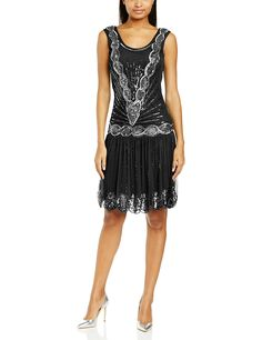 Frock and Frill Women's Zelda Flapper Evening Sleeveless Dress, Black, Size 12