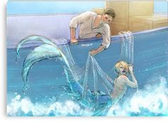 A Yuri on Ice Fanfic. Merman - part 1 Mermaid Drawings, Mermaid Art, Mermaid Canvas, Character Inspiration, Character Art, Manga Anime, Anime Art, Anime Lindo, Mermaids And Mermen