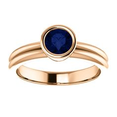 14kt Rose Gold 5.2mm Center Round Sapphire  Engagement Ring...(ST122224:439:P).! Price: $599.99 #diamonds #ring #gold #bezelring #fashion #jewelry #jemstone Jewelry Box, Jewlery, Jewelry Accessories, Jewelry Design, Bezel Ring, Right Hand Rings, Magpie, Jewelries, Beautiful Rings