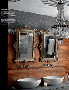pinstripe walls sexy bathroom