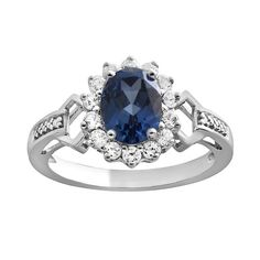 Sterling Silver Lab-Created Ceylon Sapphire, Lab-Created White Sapphire and Diamond Accent Oval Frame Ring