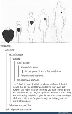 Tall people are assholes - Funny tumblr post