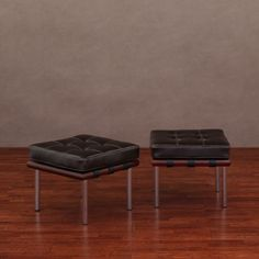 Andalucia Dark Brown Leather Ottomans (Set of 2) - Overstock™ Shopping - Great Deals on Ottomans