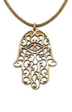 Small Hamsa Necklace       (The open-hand hamsa symbol is an ancient symbol of peace)