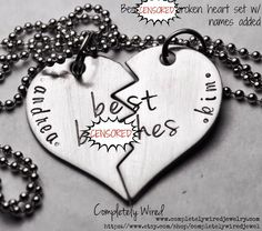 Best B**ches with names - Stainless Steel Broken Heart Necklace Set - MATURE