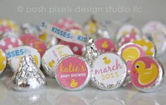 RUBBER DUCKY - Printable Candy Stickers - Baby Shower - DIY Rubber Duck Collection - by Make Life Cute via Etsy