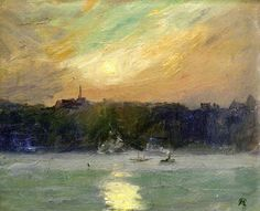 huariqueje:  Sunset on the St.Lauwrence at Lévis, Quebec - Maurice Cullen 1915 Impressionism