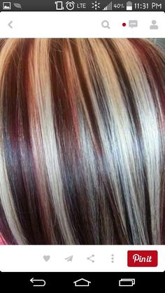 Hilights and lowlights reds, blonde, caramel