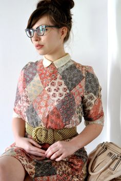 Librarian cat eye frames / vintage patchwork dress