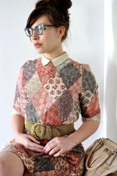 Librarian cat eye frames / vintage patchwork dress
