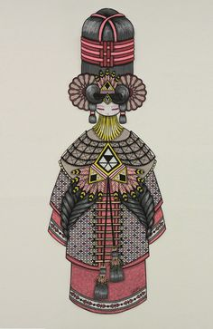 "+ TANDEM + - Koralie ROSY, .............................................................. Koralie, 2012 ""Street poster"" : Acrylic drawing on paper 200cm x 70cm"