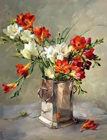 Detailed image of our Freesias in Silver - Anne Cotterill@@