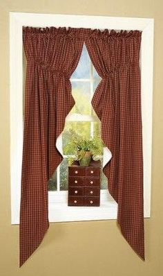 Virginia House Swag Curtains as featured in Country Sampler Magazine  Yikes! Made these from pattern found on web, look exactly the same!Couple of bucks and some time