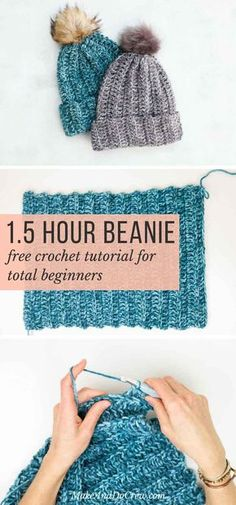 While it looks knit, this free crochet hat pattern for beginners is super easy. If you can crochet a rectangle, you can make this unisex beanie pattern! via beginners crochet beanie One Hour Free Crochet Hat Pattern for Beginners (+ Tutorial) Bonnet Crochet, Knit Or Crochet, Fast Crochet, Chunky Crochet Hat, Crochet Adult Hat, Crochet Hood, Learn Crochet, Chunky Yarn, Crochet Crafts