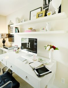 Home Office (floating shelves, painted wall chalkboard space)