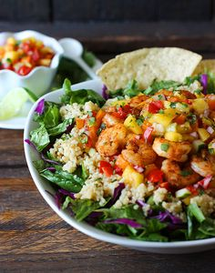 Spicy Shrimp with Sweet and Zesty Mango Salsa Cinco De Mayo Bowls