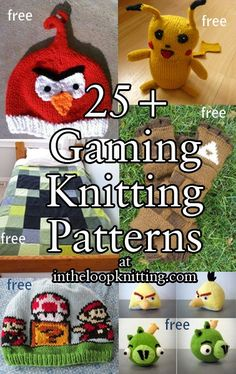 Free knitting patterns for Video Game Fans - Knitting patterns from favorite video games like Angry Birds, Super Mario Bros., Legend of Zelda, Pokemon, Tetris, Minecraft, Pac Man and more!