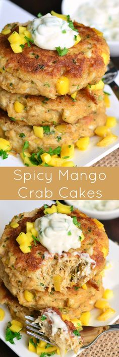 Spicy Mango Crab Cakes. These delicious crab cakes are made with fresh crab, sweetened with fresh mango, and served with sweet and spicy creamy sauce.