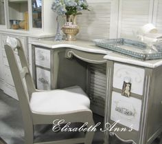Vanity / Desk with matching chair. ASCP French Linen & Pure White.