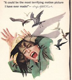 "Movie poster for Alfred Hitchcock's ""The Birds"", 1963"