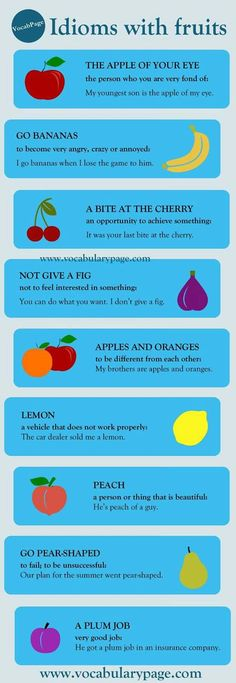 Idioms with fruit Learn English Words, English Phrases, English Idioms, English Lessons, English Grammar, Slang English, English Vocabulary Words, English Vinglish, English Study