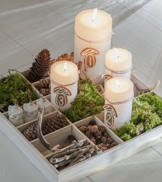 DIY advent wreath ideas advent candles wooden box natural materials christmas decorations