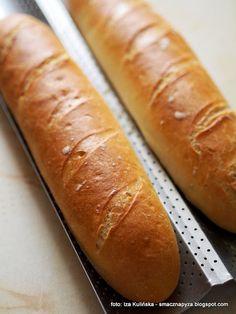 długie bułki pszenne , bułki wrocławskie , bułki paryskie , piekarnia , moje wypieki , bułki białe , Bread Dough Recipe, Polish Recipes, Bread Rolls, How To Make Bread, Bon Appetit, Hot Dog Buns, Catering, Sandwiches, Bakery