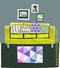 yellow sofa | Designs by Kate Yorke www.emilypickle.folksy.com http://decdesignecasa.blogspot.it
