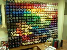 Thread Storage, Yarn Storage, Fabric Storage, Types Of Textiles, Weaving Yarn, Yarn Shop, Sewing Studio, Sewing Rooms, Space Crafts
