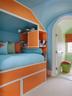 Kendall Wilkinson Design Bright Blue And Orange Kids Bedroom With Walls Bed White Trim Built