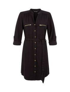 Black Zip Pocket Front Tie Waist Shirt Dress  | New Look