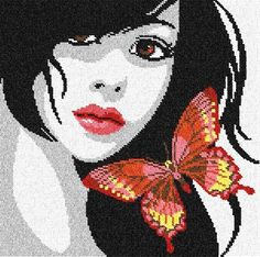 0 point de croix cheveux noirs et papillons - cross stitch black haired girl and butterflies