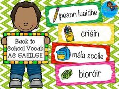 Flashcards with back to school vocab and pictures. Irish Language, Primary Teaching, School Organization, Classroom Activities, Speech Therapy, School Bags, Vocabulary, Back To School, Student