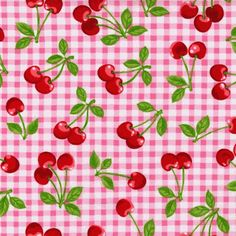 Vintage cherry gingham-lots of printables here, wallpaper, paper dolls, labels, quilts, etc