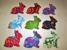 Set of 9 Batik Tie Dye Bunny Rabbit   Iron-on Clothing Quilting Fabric Appliques