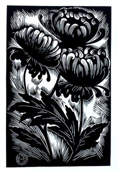 Chrysanthemums ~ Linocut by Deborah Harris